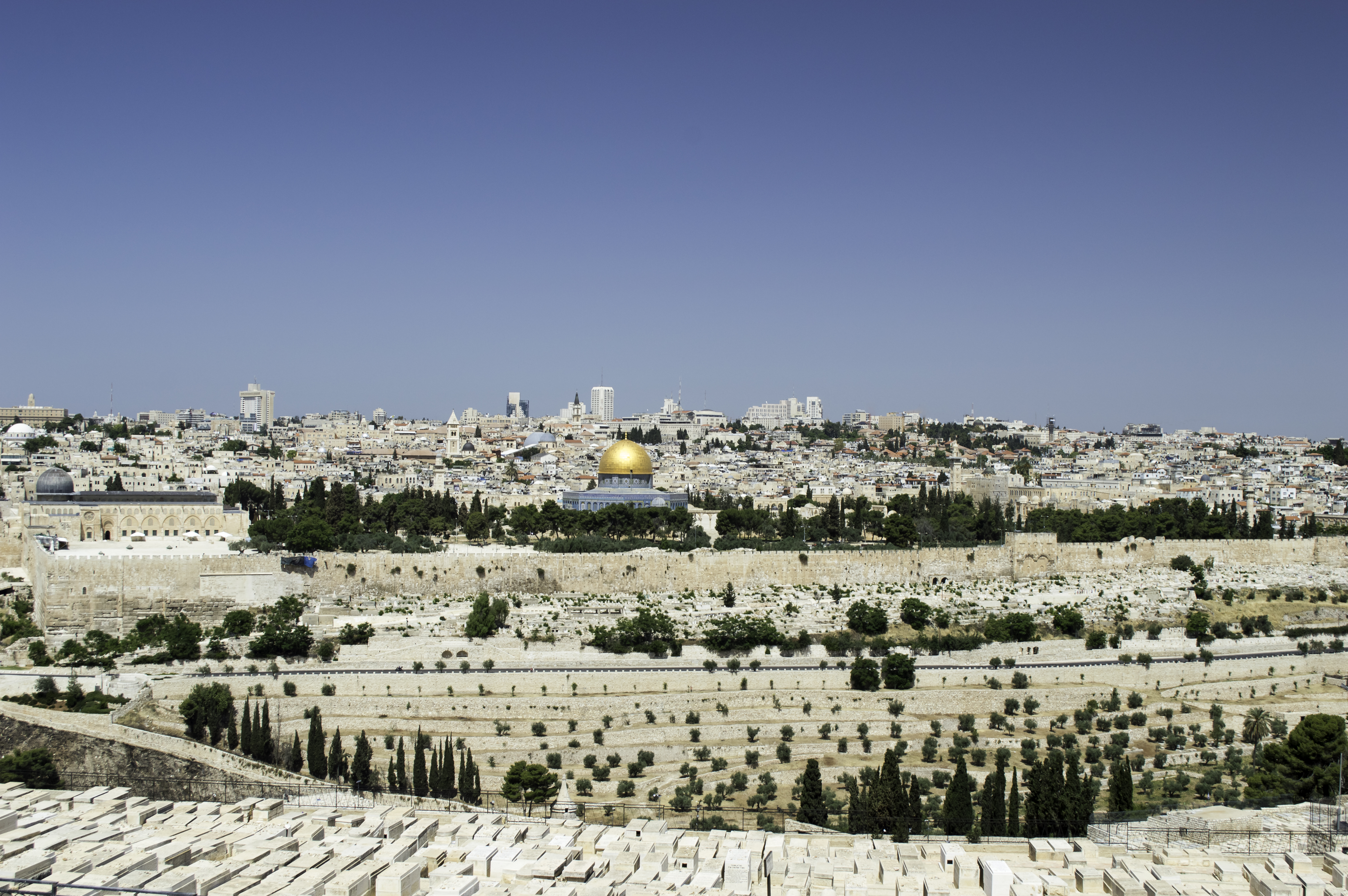 panorama of Jerusalem with of the Temple Mount and Dome of the Rock and Al Aqsa Mosque from the Mount of Olives